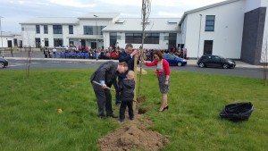 At a tree planting ceremony at Naas Community College