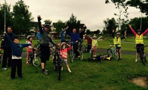 Cllr James Lawless with residents participating in the Naas Neighbourhood Cycle.