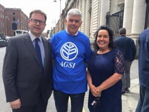 With A.G.S.I General Secretary John Jacob and Fianna Fáil T.D. Margaret Murphy O'Mahony