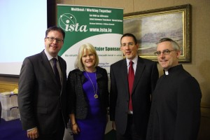 Left to right: James Lawless T.D., Sheila Donegan, Prof Aidan Mulkeen Vice President Maynooth University and Eoin Gill.