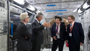 Inside the ESA component of the International Space Station: L-R Ambassador Kevin Kelly, Head of ESTEC Franco Ongara, Minister John Halligan, James Lawless TD
